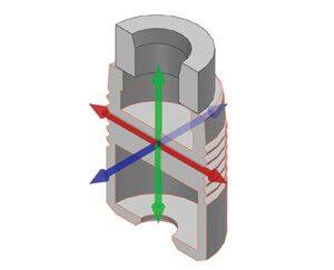 3D CAD schematic of the automotive check valve.